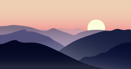 Vector mountain sunset landscape with sun