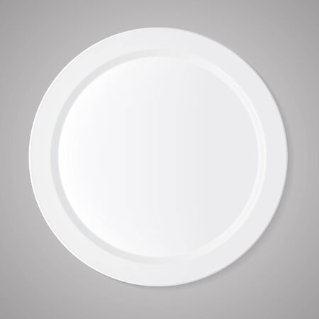 ceramic: Ceramic circle white plate with gray tablecloth