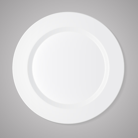 a tablecloth: Ceramic circle white plate with gray tablecloth