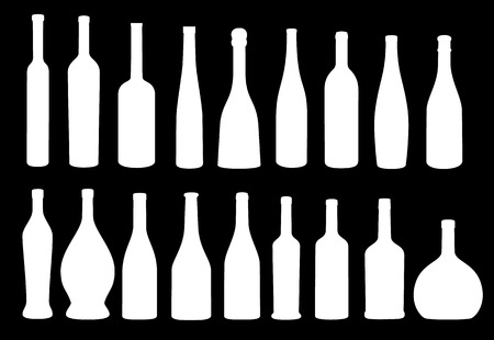 Wine bottle icon vector collection eps 10 vector, black on white background Иллюстрация