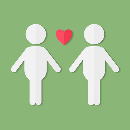 gay couple: Gay couple in love, vector flat paper icon Illustration