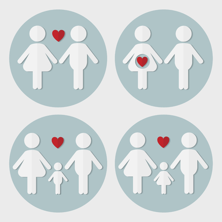 the result pregnancy test: Pregnant couple in love, family with baby boy,  family with baby girl, vector flat paper icon set