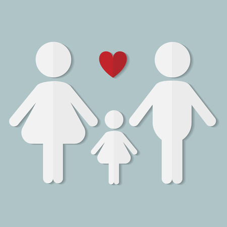 the result pregnancy test: Couple in love, family with baby girl, vector flat paper icon Illustration