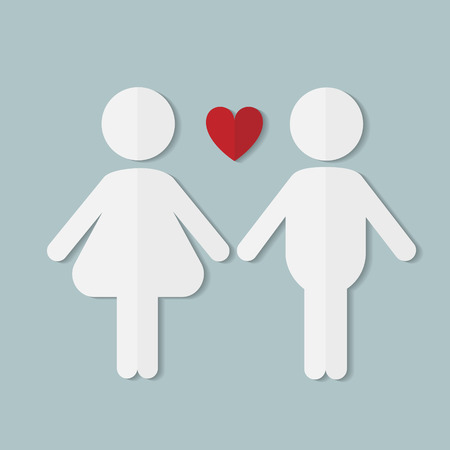 the result pregnancy test: Couple in love, vector flat paper icon