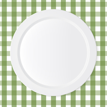 white plate: Ceramic circle white plate with green checkered tablecloth Illustration