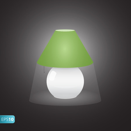 bedside: ON bedside green  lamp icon with shadow Illustration