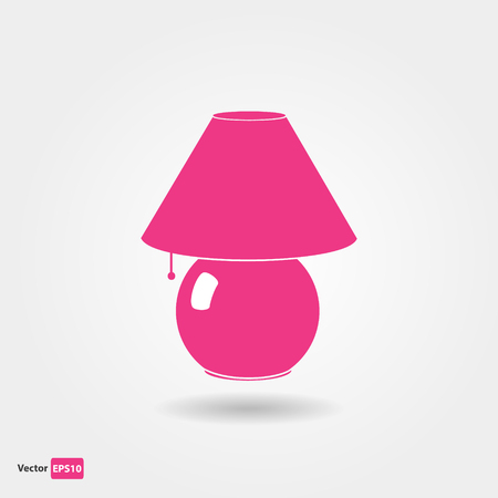 pink lamp: Table pink lamp flat icon with shadow