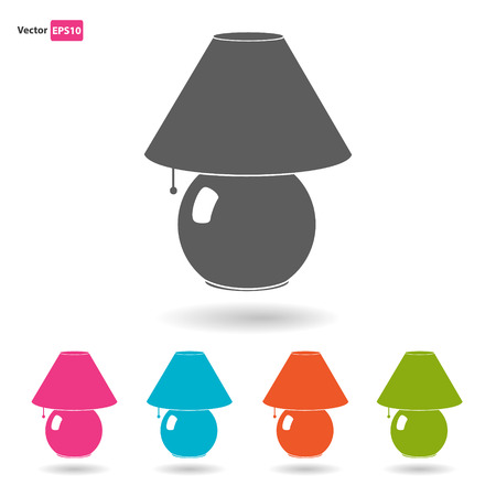 bedside: Bedside colored lamps flat icon set with shadow