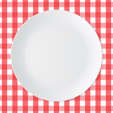ceramic: Ceramic circle white plate with red checkered tablecloth