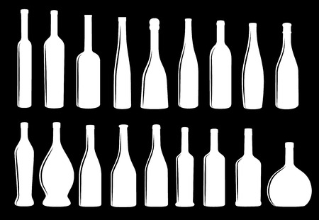 Wine bottle icon vector collection eps 10 vector, white on black background Иллюстрация
