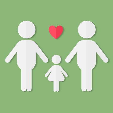 gay girl: Gay couple in love with baby girl, vector flat paper icon