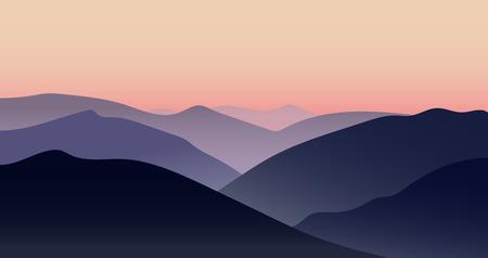 mountain sunset: Vector mountain sunset  evening beautiful landscape