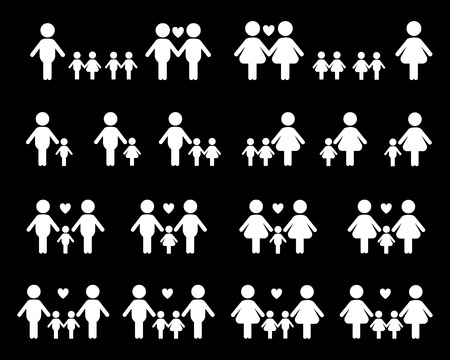 black family: Gay and lesbian family vector icons, white on black  background