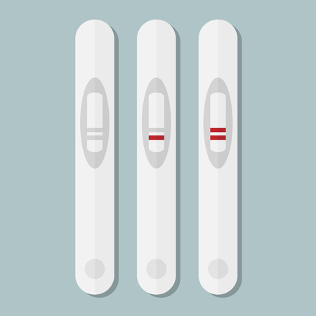 the result pregnancy test: Pregnancy test flat vector icon on blue background