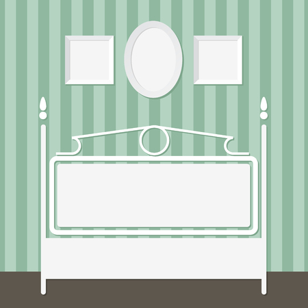 dresser: Interior with  photo frames on the wall and dresser Illustration