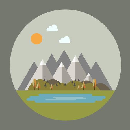 himalaya: Autumn mountain landscape in flat style