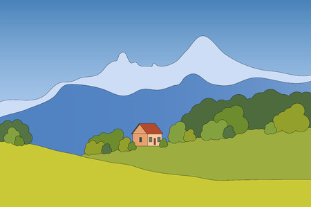 chalet: Vector mountain landscape with chalet Illustration