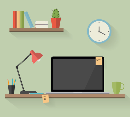 work space: Work space with laptop and shadow in flat style