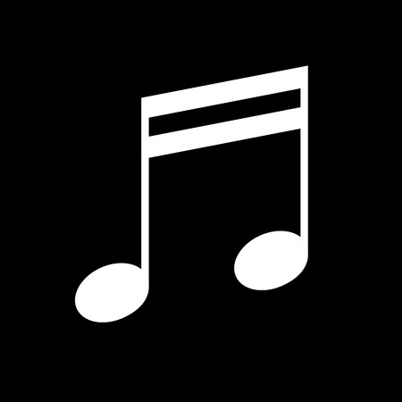 Music note vector icon, white on black background Illustration