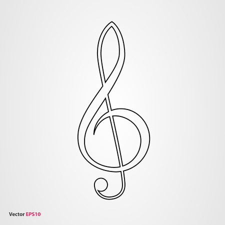 minim: Treble clef vector icon