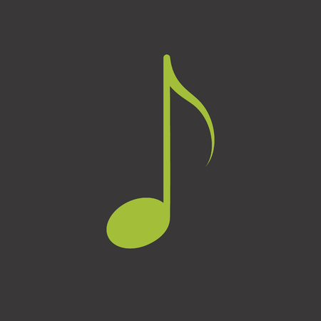 Green music note vector icon Illustration