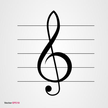 Klucz wiolinowy ikon wektorowych