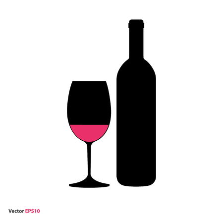 hock: Glass and bottle of red wine Illustration