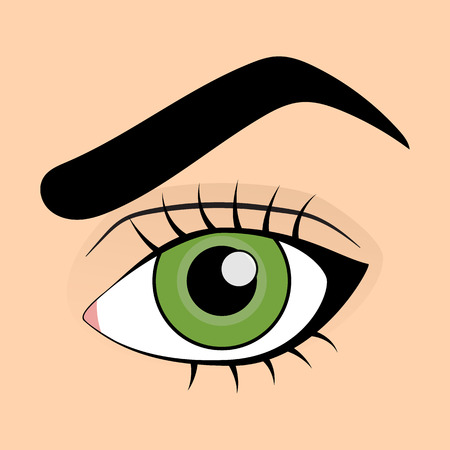 green eye: Human green eye in cartoon style Illustration