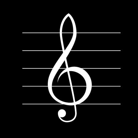 Treble icône vecteur clef, blanc sur fond noir