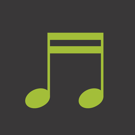 semiquaver: Green music note vector icon Illustration