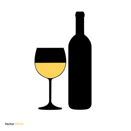Glass and bottle of white chardonnay wine Illustration