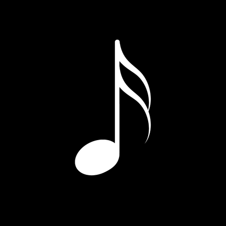 Music note vector icon, white on black background