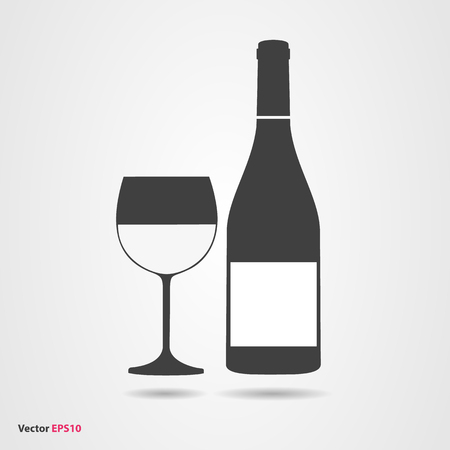 Glass and bottle of white chardonnay wine Illustration