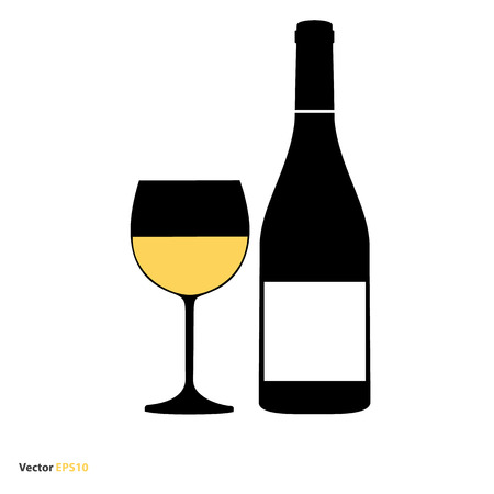 sauternes: Glass and bottle of white chardonnay wine Illustration