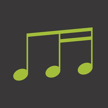 Zielona muzyka notatka ikon wektorowych