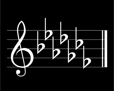key signature: Flat key signature on black