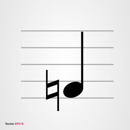 semiquaver: Musical symbol natural with quarter note and staff