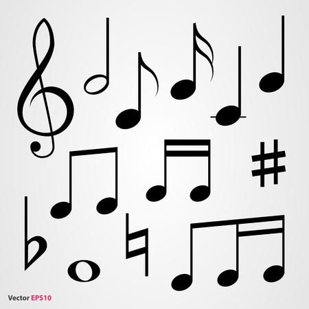 sixteenth note: Set of musical symbols Illustration