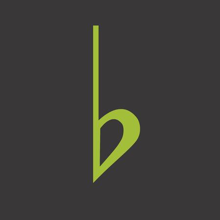 minim: Musical symbol flat grreen Illustration