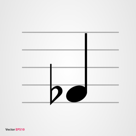 quarter: Musical symbol flat  with quarter note and staff Illustration
