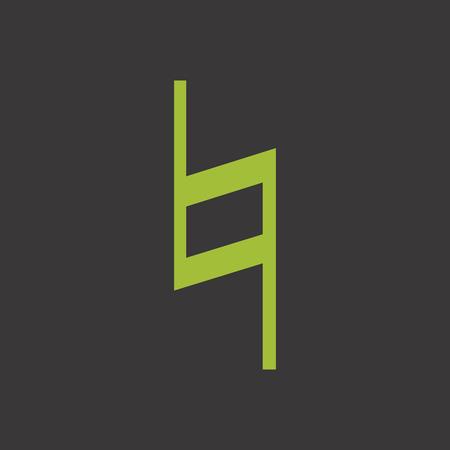 Musical symbol natural on green