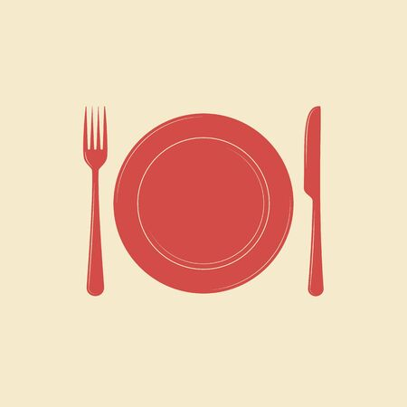 formal place setting: Plate with knife and fork vector icon Illustration