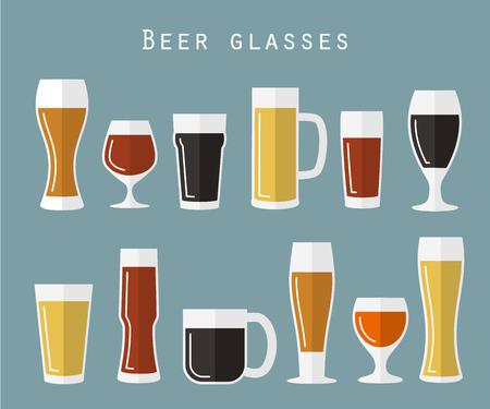 beer tulip: Set of beer glasses in flat style