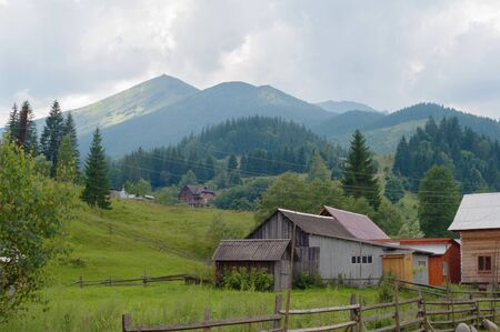 carpathian: Scenery of  Carpathian mountain village