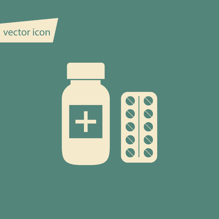 pills bottle: Vector pills bottle and blister with pills in flat style