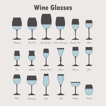 Conjunto de copa de vino y botellas de vectores siluetas