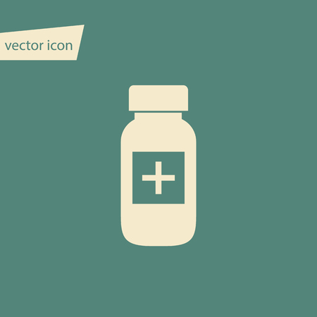 a tablet blister: Vector pills bottle in flat style