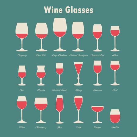 Set di vetro vettore vino e bottiglie di sagome