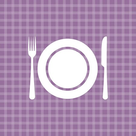 a tablecloth: Plate knife and fork on lilac picnic checkered tablecloth