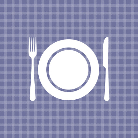 settings: Plate knife and fork on violet picnic checkered tablecloth Illustration